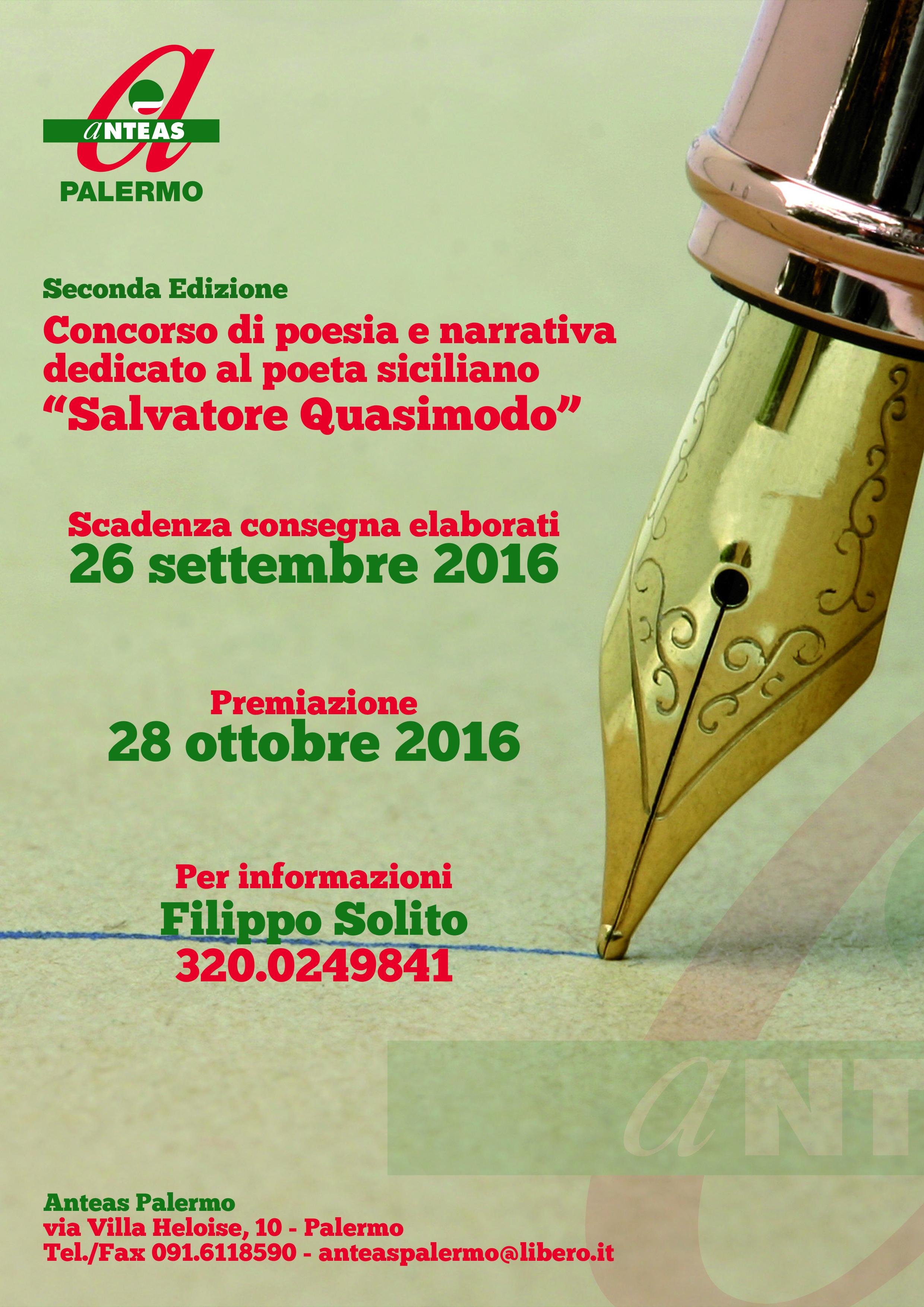 seconda edizione premio poesia anteas palermo